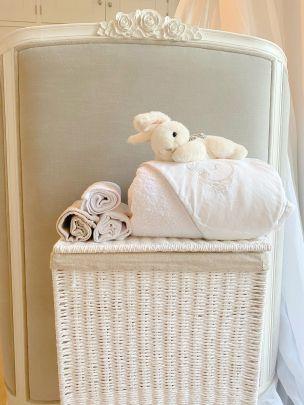 White Linen Bath Towel