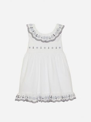 Embroidery White Popeline Dress