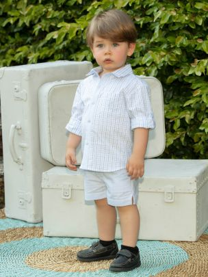 Blue Oxford Shorts