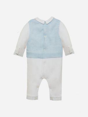 Blue Linen Babygrow
