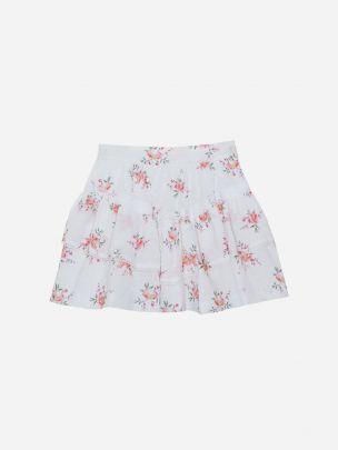 White Printed Plumeti Skirt