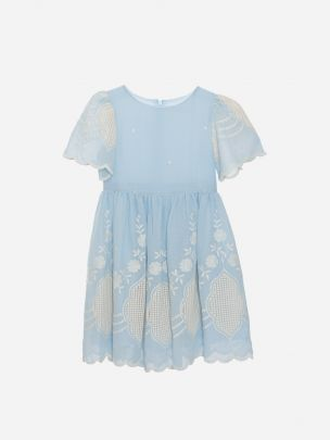 Blue Embroidery Dress
