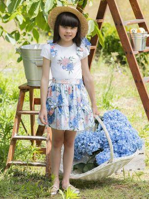 Blue Printed Skirt
