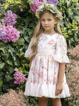 Pink Printed Chiffon Dress