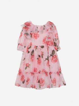 Pink Floral Chiffon Dress