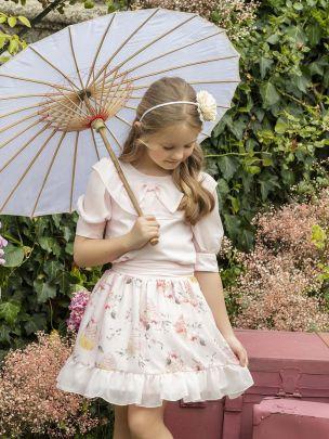 Pink Printed Chiffon Skirt