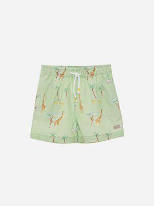 Green Print Shorts