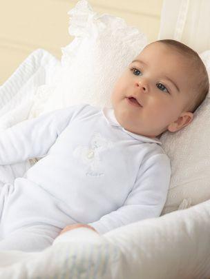 Blue Velour Babygrow