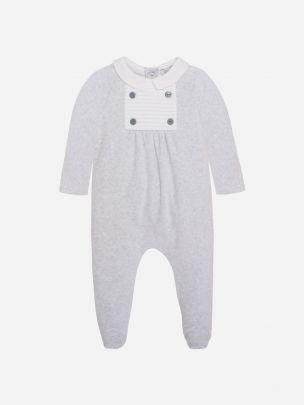 Melange Grey Velour Babygrow
