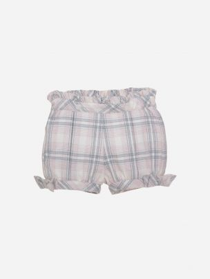 Grey/ Pink Check Flannel Shorts