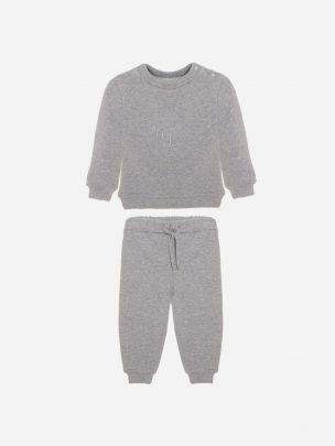 Grey Cotton Fleece Tracksuit