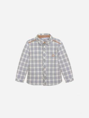 Grey/Ecru Check Flannel Shirt