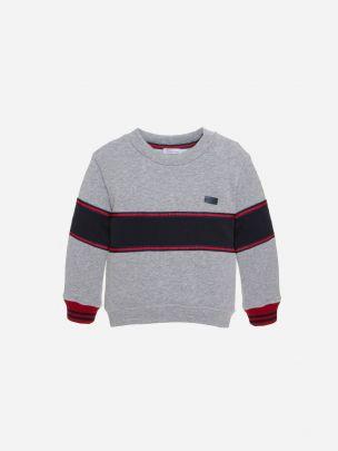 Dark Melange Grey Cotton Fleece Sweater