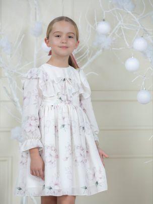 Ivory Flower Chiffon Dress