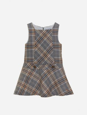 Grey/Camel Check Flannel Dress