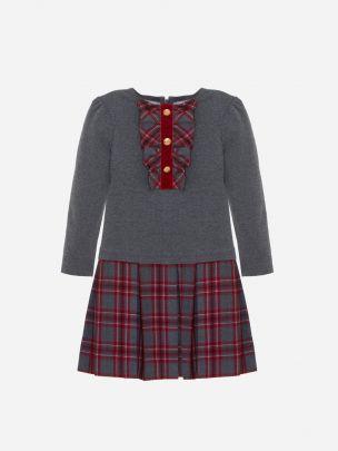 Dark Melange Grey Cotton Fleece Dress