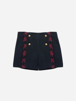 Navy Flannel Shorts