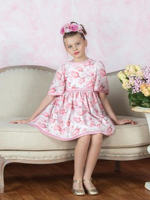 Pink Tulip Print Chiffon Dress