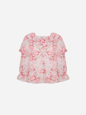 Pink Tulip Print Chiffon Blouse