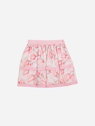 Pink Tulip Print Chiffon Skirt