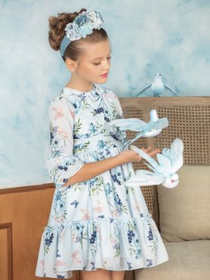 Blue Print Chiffon Dress