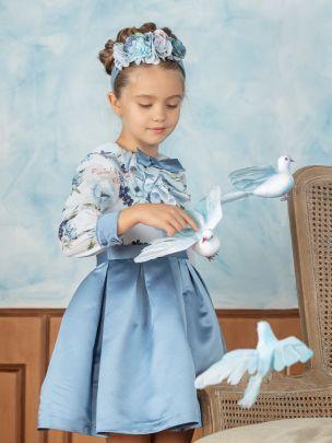 Blue Chiffon and Satin Dress