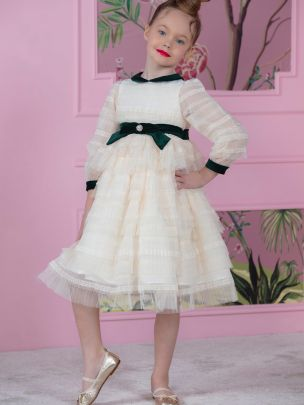 Off White Tulle Haute Couture Dress
