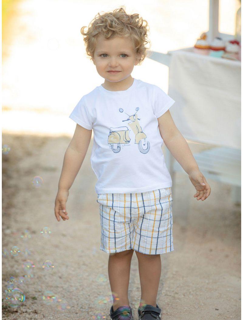 Cotton Navy and Yellow Check Shorts