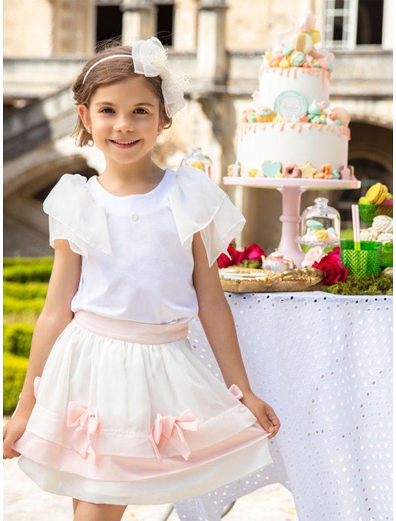Chiffon White And Pink Skirt