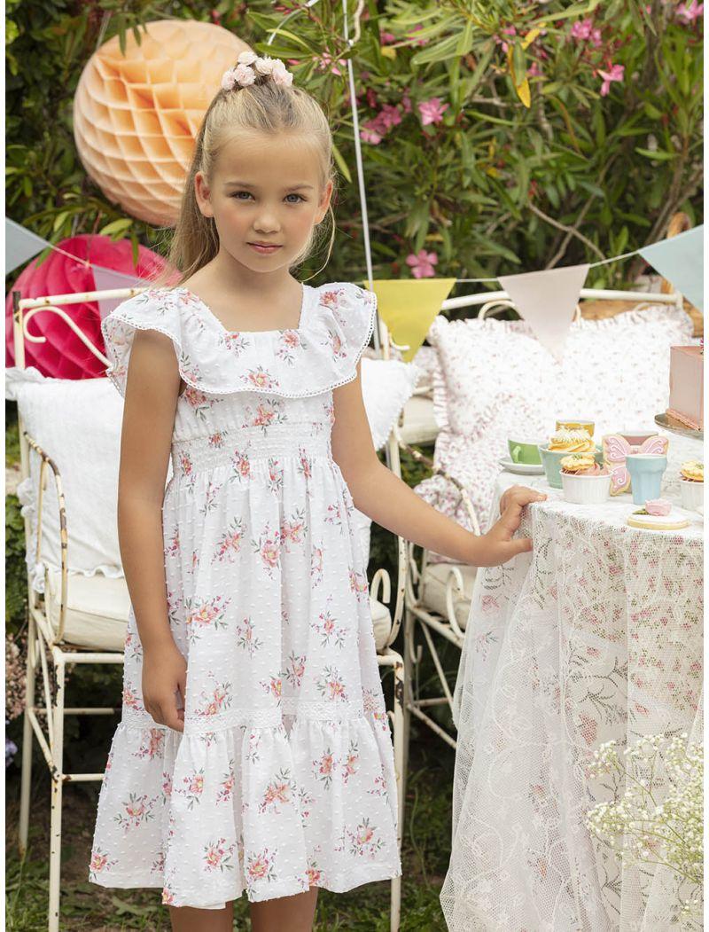 White Printed Plumeti Dress